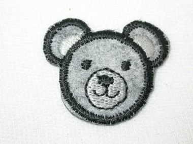 Grey Wool Teddy Bear Face Iron On Applique Patch