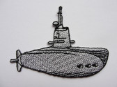 Gray Grey Submarine w Periscope Embroidered Iron On Patch Applique