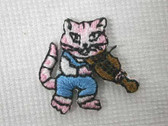 Cat Fiddle Iron On Embroidered Applique Patch