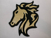 Gold Black Horse Head Vinyl Iron On Applique Patch 3 Inch