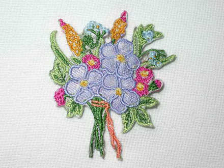 Lilac Pink Floral Nosegay Bouquet Iron On Patch
