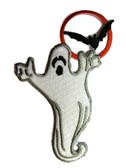 Ghost Bats Moon Halloween Embroidered Iron On Patch Applique 3.75 Inches