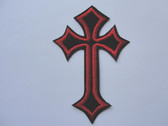 Red Edged Black Cross Embroidered Iron On Patch 3 7/8 Inch