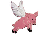 Flying Pink Pig Twill with Embroidered Wings Accents Iron On Patch 5 Inches Tall