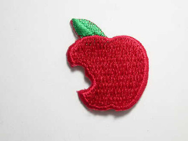 Two Apple w Bite Embroidered Iron On Patch