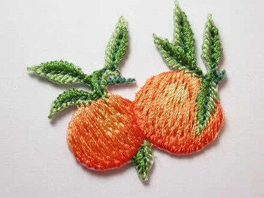 Oranges w Leaves Embroidered Iron On Patch