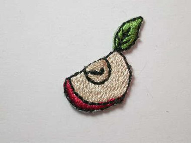 2 Apple Quarter Slice Embroidered Iron On Patch 1 In
