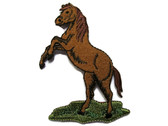 Brown Rearing Horse on Grass Embroidered Iron On Patch Applique 3.38 Inch