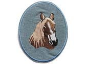 Horse Head Faded Blue Twill Applique Embroidered Iron On Patch 3.75 Inches