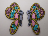 Pair Butterflies Sequin Accent Embroidered Iron On Patch