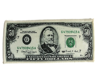 $50 Bill Ulysses Grant Money Embroidered Jacquard Iron On Patch 6 Inch