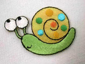 Snail Embroidered Iron On Patch Shimmery Small
