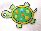 Shimmery Turtle Embroidered Iron On Patch Small