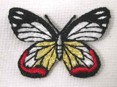 Red White Black Butterfly Iron On Patch 1.75 In