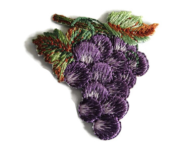 Dark Grape Clusters on Vine Embroidered Iron On Patch Applique 1.75 Inch