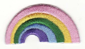 Pastel Rainbow Embroidered Iron On Patch 1.5 In