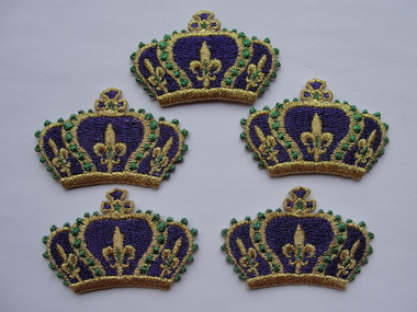 5 Mardi Gras Colored Crown Embroidered Iron On Patches 2 x 1.25 Inch