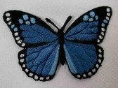 Royal Blue Butterfly Embroidered Iron On Patch 3 Inch