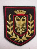 Heraldic Gold Firebird Crown Crest on Black Iron On Patch