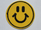 Smiley Happy Face Embroidered Iron On Patch 2 7/8 Inch