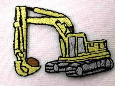 Backhoe Derrick Construction Embroidered Iron On Patch