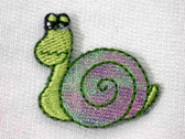Comical Glittery Snail Embroidered Iron On Patch
