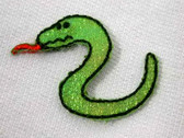 Hissing Glittery Snake Embroidered Iron On Patch
