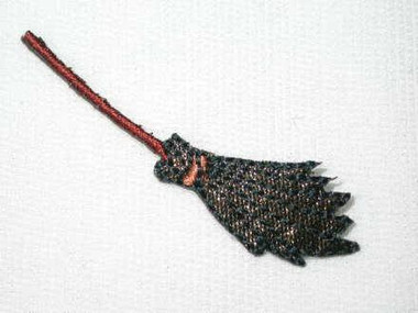 Witch Broom Halloween Embroidered Iron On Patch