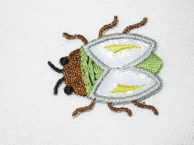 Beetle White Wings Luminous Embroidered Iron On Patch