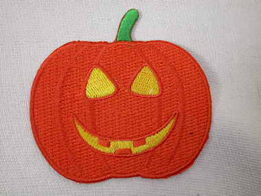 Halloween Pumpkin Embroidered Iron On Patch 2 1/2 Inch