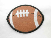 Football Faux Leather Iron On Patch White Stitching