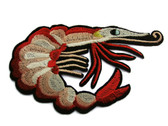 Large Red Shelled Sea Shrimp Embroidered Iron On Patch Applique 4.75 Inches