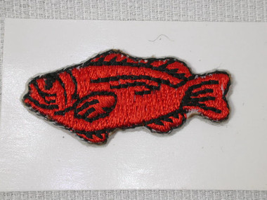 Mini Fat Red Fish Embroidered Stick On Applique Patch