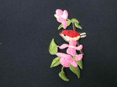 Bird on Branch Pink Flower Embroidered Iron On Patch