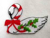 Christmas Holly Berry Swan Iron On Applique Patch