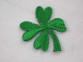 Two Green Shamrock Clover Leaf Iron On Patch 1 Inch