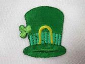 2 St Patrick Hat Green Shamrock Iron On Patch 1.5 In