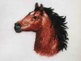 Roan Horse Head Embroidered Iron On Applique Patch L