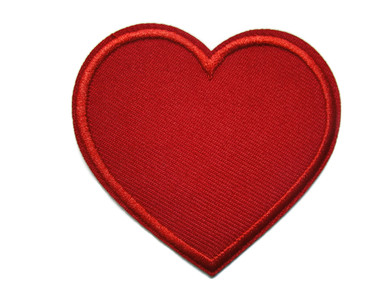 Bright Red Heart Iron On Applique Patch 2.50 Inch Wide