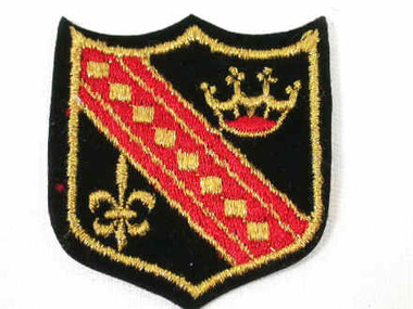 Heraldic 1 Crown Fleur De Lis Embroidered Iron On Patch