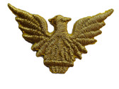 Eagle Gold Metalic Emblem Embroidered Iron On Patch Applique 2.25 Inches