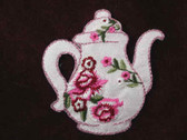 Pink Red Rose Tea Pot Embroidered Applique Patch