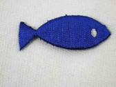 Royal Blue Christian Shape Fish Iron On Embroidered Patch