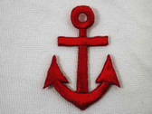 Red Nautical Anchor Embroidered Iron On Patch 2 In