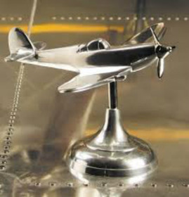 Authentic Aluminum WWII Spitfire Airplane Trench Art Desk Model Historic Aviation Gift