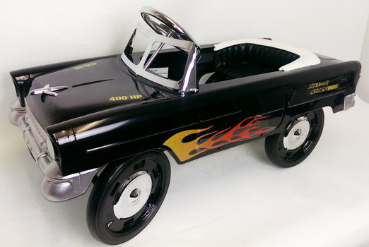 55 Classic Pedal Car in Black with Flames