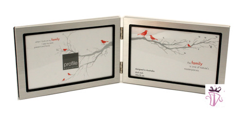 Double Silver 4 x 6 in Horizontal Photo Frame