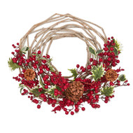 Rustic Red Berry Wreath with Holly and Pinecones - 53cm