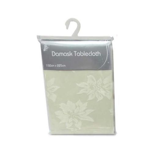 Cream Christmas Damask Table Cloth (150 x 225cm)