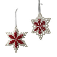 Ceramic Snowflake Ornament with Red Velvet Detail